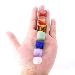 Wholesale Black Silk Sheets - Natural Crystal Reiki Chakras Healing Stones Multi Color Irregular Shape 7pcs 1set Chakra Stone And DIY Pendant Accessories 6 8cm ZZ