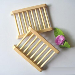 Wholesale Soap Dishes Bath - 100PCS Natural Bamboo Wooden Soap Dish Wooden Soap Tray Holder Storage Soap Rack Plate Box Container for Bath Shower Bathroom GBN-046