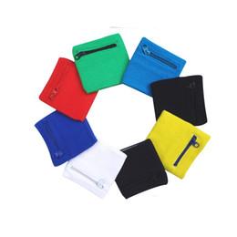Wholesale cotton wristbands sweatband - Cotton Wristband Zipper Pocket Outdoor Wrist Guard Sweatband Arm Band Support Wraps Sport Strap Protect Mix Colour 2xj V