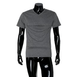 Wholesale Kangaroo Sling - MUQGEW Men Baby Carrier Sling Kangaroo Multifunction T Shirt Short Sleeves T Shirt Men Solid Blouse Casual camisetas hombre #AA