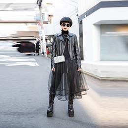 Wholesale Khaki Calf Length Skirt - Tokyo Japan Fashion Skirts Women A Line Tee Length Midi Skirt Ruffles Hem Layered Black Tulle Skirt Street Style