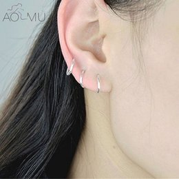 Wholesale Helix Body - whole saleAOMU Circle Piercing Nombril Body Jewelry Nose Hoop Rook Helix Lip Ear Eyebrow Cartilage Silver Color Round Hoop Earrings