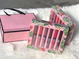 Wholesale pink paper gift bags wholesale - Newest Secret Makeup 12 colors Velvet Matte lip gloss set 12pcs set lipgloss Liquid lipstick with pink gift paper bag free shipping