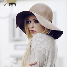 YIFEI New Pillbox Hat Women Wide Brim Felt Bowler Fedora Hat Floppy Sun  Bowknot Cloche Cap Women s Large 10 Colors outdoor 07b0eacbb22b