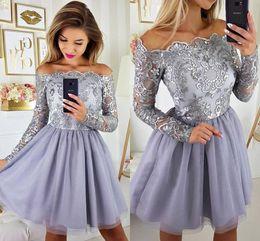 a87c56f4f 2019 Gorgeous Long Sleeves Lila Lavender Short Homecoming vestidos apliques  gasa falda hasta la rodilla Prom Vestidos de cóctel para adolescentes BA9972