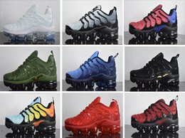 Wholesale Cheap Plus Size Shoes - Top 2018 Cheap TN Mens Running Shoes Vapormax TN Plus VM In Metallic Olive Sneakers Brand Trainers Size 40-45