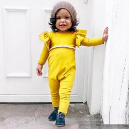 Wholesale Childrens Jumpsuits - Newborn Kids Girls Cotton Ruffles Rompers Babies Princess Cute Jumpsuits 2017 Childrens Autumn Casual Romper Kids Clothing