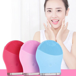 Wholesale Rechargeable Mini Massager - Ultrasonic Electric Facial Cleansing Brush Mini Vibration Skin Remove Blackhead Pore Cleanser Waterproof Silicone Face Massager
