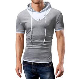 8bc0cffa783b6 New 2018 Men s brand t shirt male Slim Rivet button decoration short -  sleeved t shirt hooded design casual Tees men large size