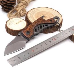 титановый открывалка для бутылок Скидка Мини-титановый карманный складной нож 5Cr15Mov 57HRC деревянная ручка открывалка для бутылок отвертка охота выживание тактический нож EDC инструмент