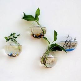Decoração mini tanque de peixe on-line-Modern criativo micro paisagem diy mini planta pendurado parede vaso de vidro arte decoração artesanato tanque de peixes de aquário recipiente