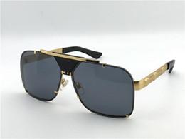 Argentina nuevos hombres gafas de sol de diseño vintage retro diseño gran cara logotipo 2187 marco cuadrado sin montura UV400 estilo de primera calidad steampunk con caja cheap rimless retro sunglasses Suministro