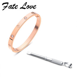 Wholesale Open Clover - Fate Love Trendy Open Bangle Stainlese Steel Clover Bracelets White Rose Gold Micro Mosaic Circle CZ For Valentine's Gift FL851