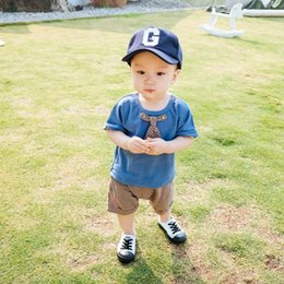 Wholesale Baby Boy Tie T Shirt - 2018 new Summer baby Boys Clothing Sets baby boy clothes tie short sleeve T shirt Shorts Cotton Infant Outfits Toddler suits Baby Wear