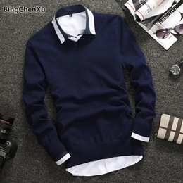 78a337279e5 Casual Men s Sweater Hot Sale Quality Cotton Knitted Sweater Men Stylish V- Neck Solid Pullover Men Brand Winter Mens Wear 1091