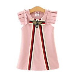 Wholesale Red Chinese Style Dress - Party Dresses for Kids Girls Animal Striped Dress 2-6T Toddler Princess Ruffle Sleeve Dress 2018 New Infant Children Clothing Wholesale T55