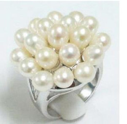 Seeperlenring online-Free ShippinG Schwarz / Weiß Südsee Perle Silber Crystl Ring Size: 7.8.9