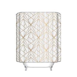 CHARMHOME Geometrica Linea Oro Impermeabile Poliestere Tessuto Doccia Cortina Arredo bagno con 12 ganci cheap waterproof fabric lining da rivestimento impermeabile in tessuto fornitori