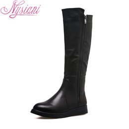 cfa969f62ff3 2018 Womens Winter Knee High Boots Casual Round Toe Fashion Low Heels  Zipper Female Wedges Long Boots Shoes For Women Nysiani