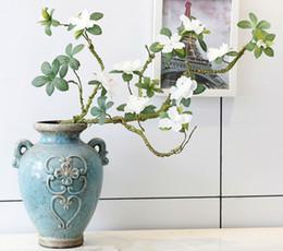 Wholesale Long Branches Artificial Flowers - 90cm 10 flowers artificial azaleas with branch white cuckoos long stem arbitrary bending new silk flower