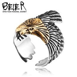 Wholesale Great Flying - New Men's Stainless Steel Flying eagle Ring European and American Fashion 316L Titanium Steel Rings Jewelry Gift