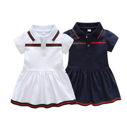 Wholesale Baby Girls Dress Summer Stripe Dress Baby Dressing para fiesta azul y blanco con arco Ropa para niños
