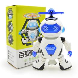 Rotierende tanzlichter online-Tanzen-Roboter 360, der Raum-musikalischen Weg LED-Licht-elektronisches Spielzeug-intelligente Spielwaren für Kind-Roboter dreht, spielt 3pcs / lot