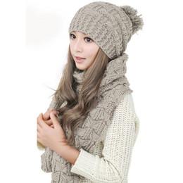 436c1b42aba 2pcs Set New Knitted Hats Scarf Winter Warm Big Fur Pom Poms Ball Caps Sets  Women Beanie Hat Thick Female Bonnet Scarves Sets