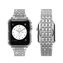 Estojo de prata on-line-Bling bling diamantes cheios de diamantes pulseira + full diamonds moldura caso para apple watch s1 / s2 / s3 42 milímetros (prata 2em1 set)