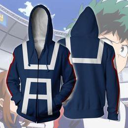 Wholesale college outerwear - My Hero Academia 3D Hoodie Sweatshirts Uniform Men Women Hoodies College Clothing Tops Outerwear Zipper Coat Outfit