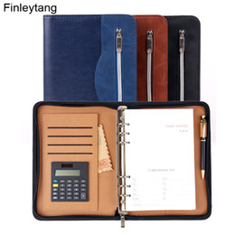 Wholesale Leather A5 Notebook - High Quality Business Notebook With Calculator Multifunction Manager Folder Padfolio PU Leather Zipper Notepad Travel Agenda A5