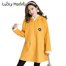 0464812032856 cute maternity clothes 2019 - Winter New Stitching Cute Rabbit Ears  Maternity Hoodies for Pregnant Women