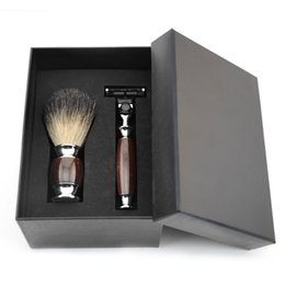 Wholesale Men Shaver Set - ZY Men Shaving Gift Set 3 Layers Blades Safety Razor Knife Shaver Pure Badger Hair Shave Beard Brush Present Best Gift Box