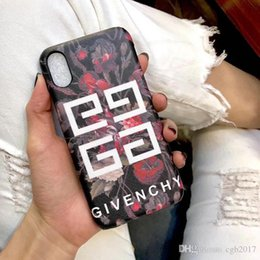 Wholesale Customized Letter - For Apple iPhoneX 8 8plus Luxury brand printing flowers letters cortex phone case for iPhone6 6S 7 7plus hard cover