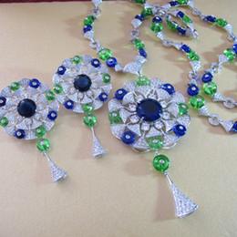 Fleur d'éventail bleue en Ligne-gros zircon diamants grand bleu pierre fan fleur gland plaqué or blanc de longs colliers et boucles d'oreilles ensembles de bijoux de fête pour les femmes