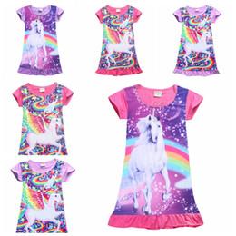 53371405e2814 6 styles mignon dessin animé cheval enfants filles manches courtes robe  d été décontractée bébé fille licorne chemise de nuit enfants jupes jupe  chemise ...