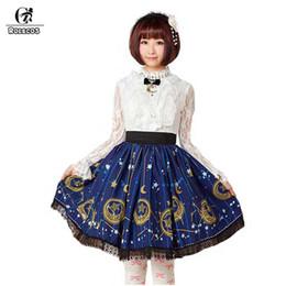 2019 mulheres vestido colonial ROLECOS Lua Azul E Estrela Impressão Saia Curta Para As Mulheres Sweet Lolita Impresso Princesa Saia Com Renda Preta Japonês SK 2018