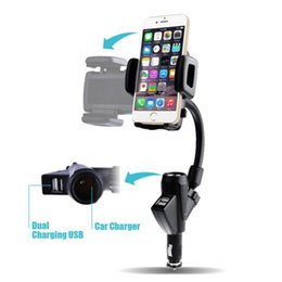 Wholesale Iphone Cigarette Charger Holder - Dewtreetali Universal Car Cigarette phone holder Mount Stand Dual USB Charger Cradle For iPhone Samsung Galaxy Note 5 A8 Lenovo