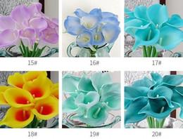 Canada Vente en gros 100pcs Real Touch Fleurs artificielles décoratives Calla lily Bouquet de mariage artificielle mariée fleurs Party Supplies 20 couleurs supplier real touch flowers wholesale Offre