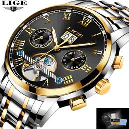 механические часы Скидка LIGE топ бренд класса люкс Мужские спортивные часы мужчины водонепроницаемый механические часы человек полный стали военные автоматические наручные часы Relojes D18100709