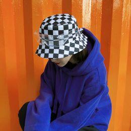 Weißer schwarzer karikaturhut online-Männer Schachbrett Angeln Hüte Brille Baumwolle Harajuku Street Dance Eimer Hut schwarz weiß Plaid unisex soziale flache Hip Pop Caps Petten Dames