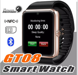 Wholesale Turkish Silver Bracelets Wholesale - GT08 Bluetooth Smart Watch with SIM Card Slot and NFC Health Watchs for Android Samsung and IOS Apple iphone Smartphone Bracelet Smartwatch