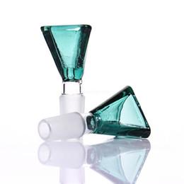 Verre de jade vert en Ligne-Triangle glass bowl green blue duck green jade 14mm 18mm for glass water pipe or bong bubbler