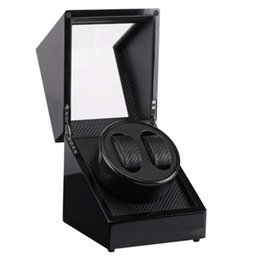 Reloj de madera negro para hombre online-Nuevo 2 Slots Black Watch Winder Automático New Watch Storage Winder Wood Mens Mechanical Gift Case Shaker