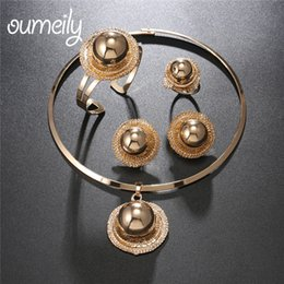 Wholesale Costume Big Necklace Sets - OUMEILY Nigerian Jewelry Women Beads Sets Big African Jewellery Sets Gold Color Eritrean and Ethiopian Wedding Costume Jewelry