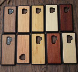 Pour Iphone X Samsung S8 S9 Plus Etui en bois Pour Note 8 Étuis en bois de bambou véritable Iphone 8 7 Cas Couverture arrière en bois avec TPU antichoc DHL gratuit ? partir de fabricateur