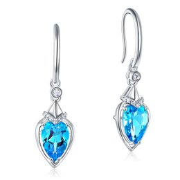 c87b29986 Peacock Star Dangle 14K White Gold Swiss 1.2 Ct Pear Cut Blue Topaz Earrings  Natural 0.1 Ct Diamonds Bridal