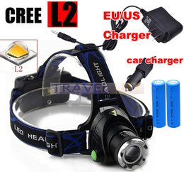 Wholesale Led Car Headlight Bulb Cree - 6000 Lumens Headlight CREE XML-L2 headlamp zoomable LED Head Lamp Rechargeable led head light+2x 18650 +AC Car charger