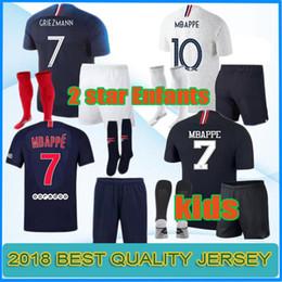 aaa 2 estrellas MBAPPE camiseta de fútbol Copa Mundial de Fútbol 2018 camisetas de fútbol infantil del equipo nacional pogba GRIEZMANN KANTE kit infantil maillot de foot desde fabricantes