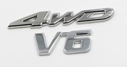 Wholesale 4wd Stickers - Car 3D Metal 4WD V6 Car Auto Badge Emblem Stickers Chrome Tuning Car-Styling Accessories